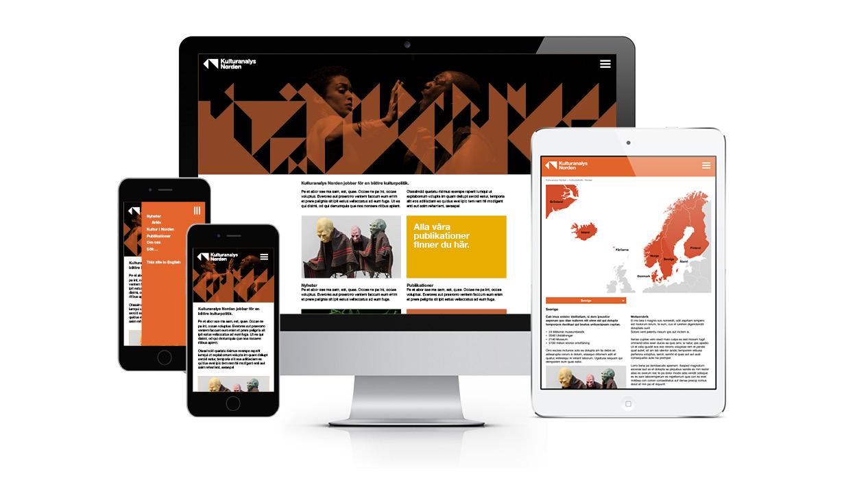 Kulturanalys webb på desktop, mobil och surfplatta