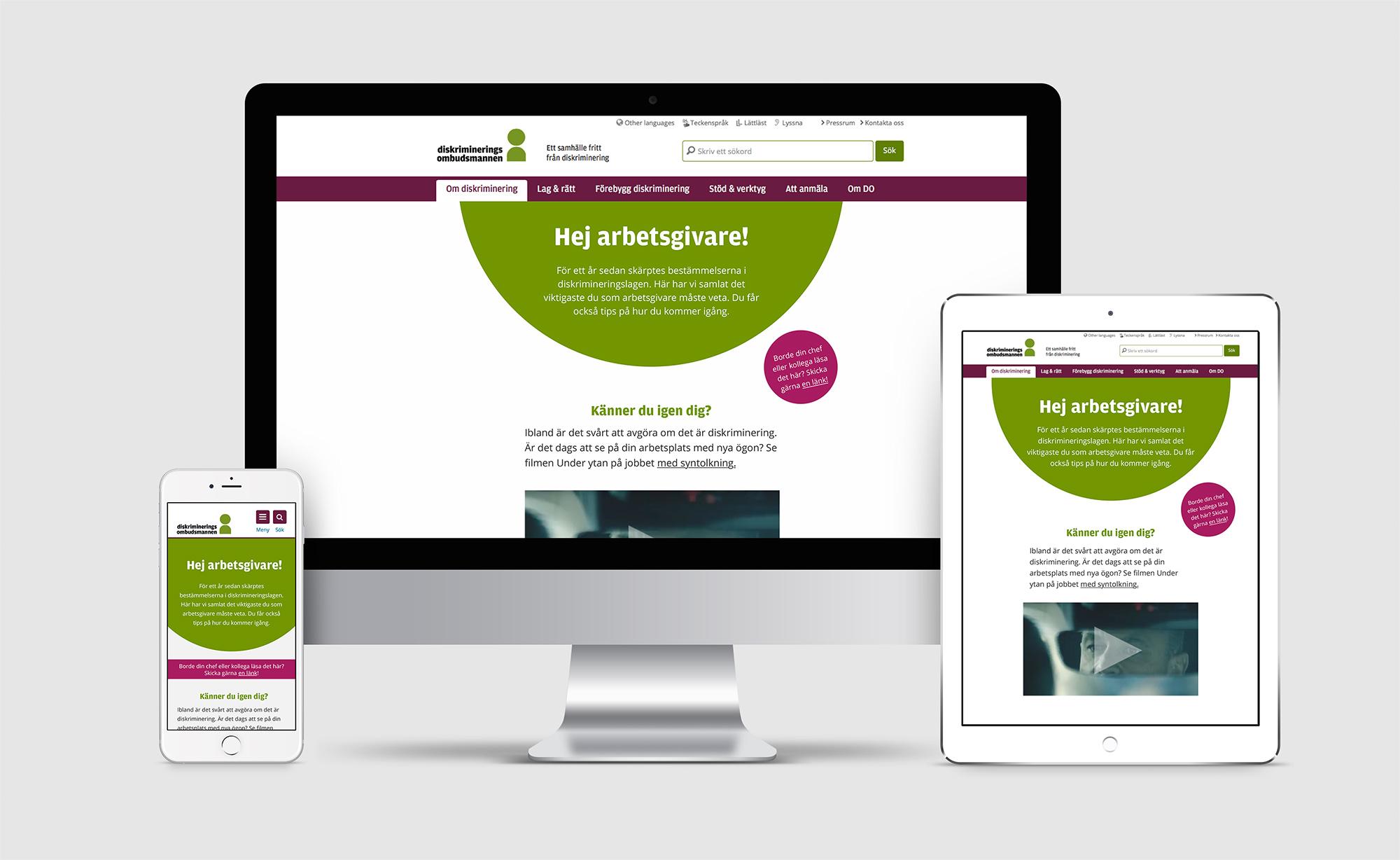DOs webbplats på desktop, tablet och telefon.