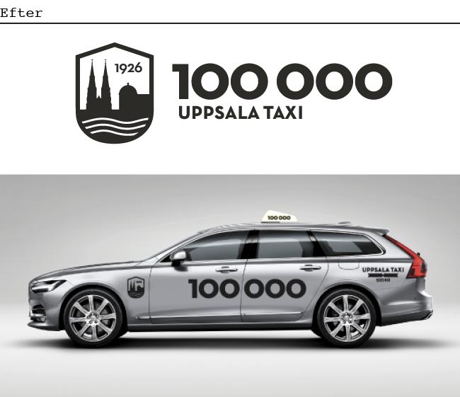 Bil från Uppsala taxi efter nya grafiska identiteten. Sparsmakat, tydligt men fortfarande anrikt.