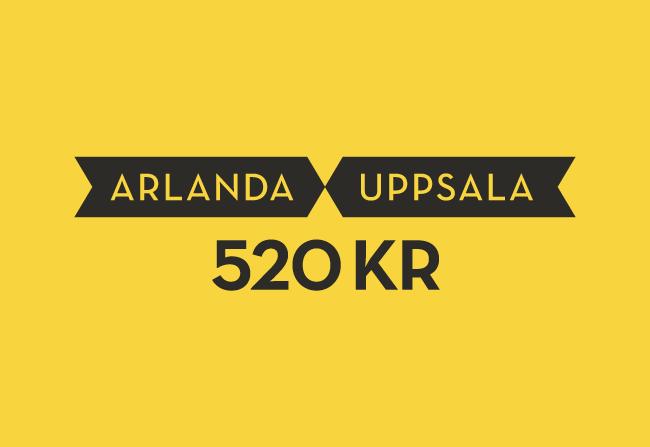 Grafik från Uppsala taxis nya identitet som visar pris på körning Arlanda–Uppsala.