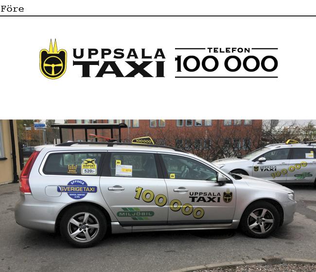 Bil från Uppsala taxi före nya grafiska identiteten. Daterad typografi och rörigt intryck.