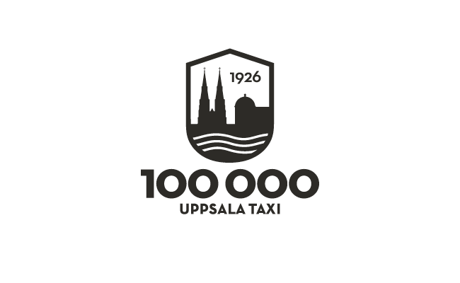 Centrerad version av Uppsala taxis logo med fokus på telefonnumret 100 000.