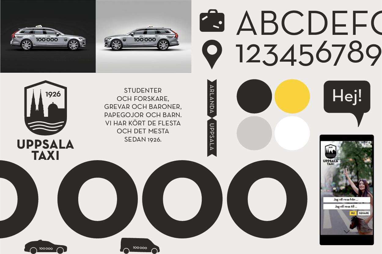 Överblick på Uppsala taxis nya identitet. Typografi, färger, logotyp, stripade bilar, tone of voice och app.