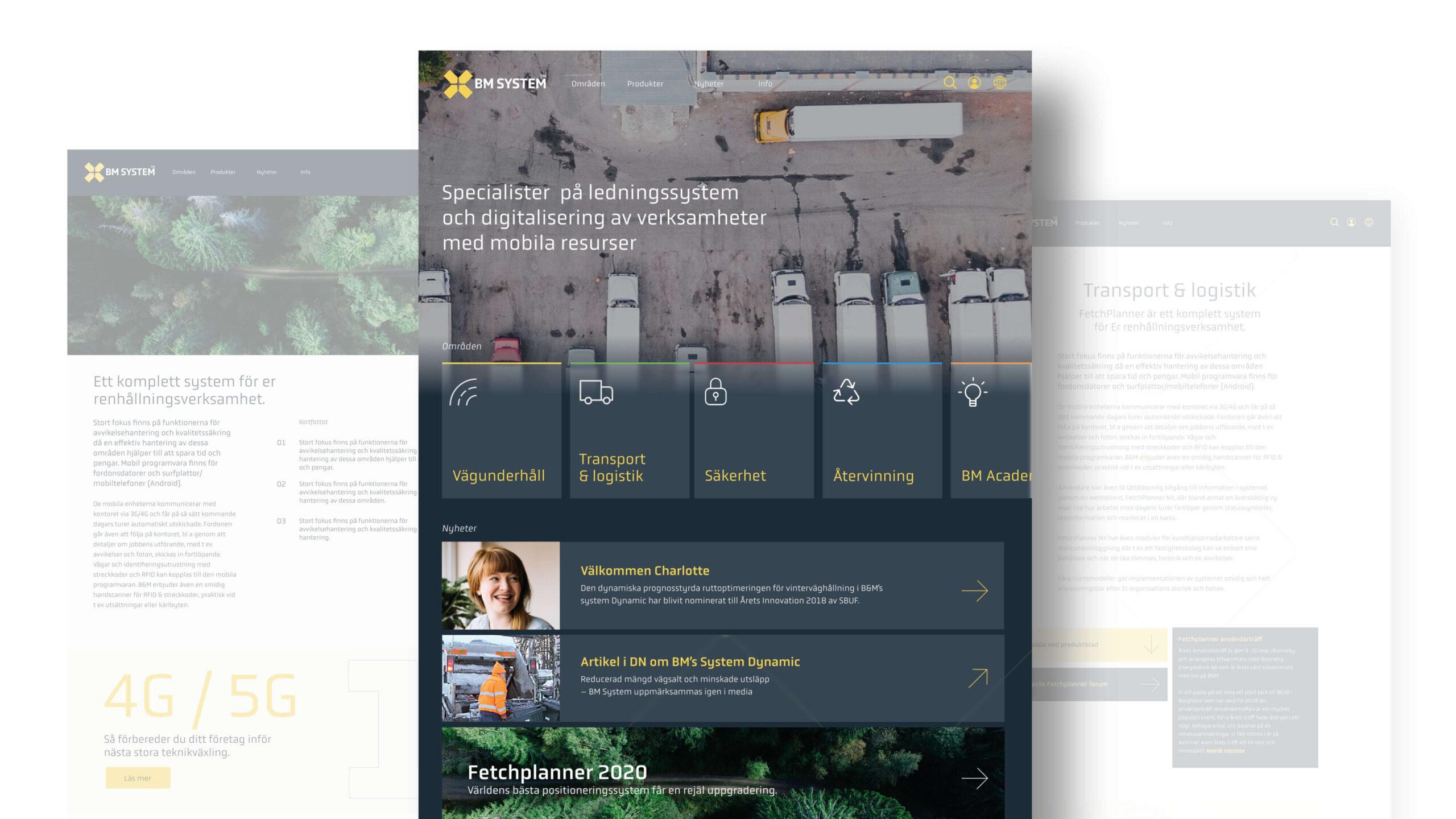 BM System skiss på webbplats